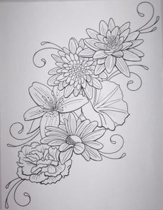 dahlia tattoo black and white - Google Search