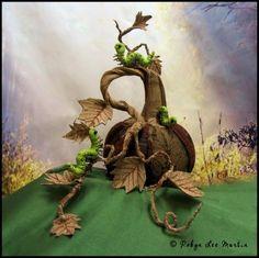 "Textile Pumpkin with Handmade ""Caterpiggle"" Worms"