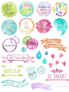Water Color Stamp - sticker printable…                              …: