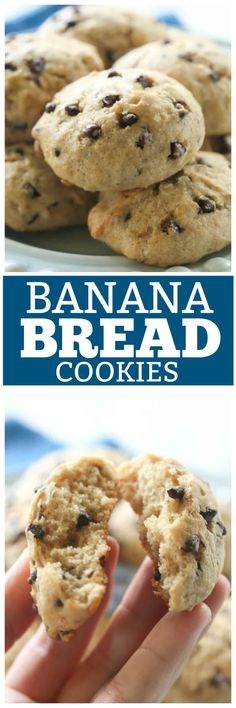 Banana Bread Cookies | The Girl Who Ate Everything. Moist cake-like browned butter banana cookies with mini chocolate chips and nuts that taste just like banana bread. the-girl-who-ate-...