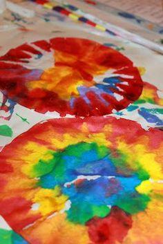 Rainbow Coffee Filters ~ simple art for kids #watercolors #watercolorsforkids #kidsactivities #artforkids