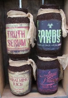 Grungy Primitive Halloween Bottles Ready to by Rabbithollowprims, $12.95