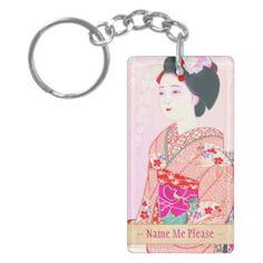 Kyoto Brocade, Four Leaves - Spring japanese lady Acrylic Keychains #kyoto #spring #lady #beauty #geisha #pink #kimono #cherry #sakura #Japan #oriental #vintage #gift #classic #girl #girly #pinky