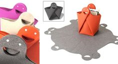Akanbe Felt Bag – a multi-purpose bag that can also be spread out into a mat. And we can't help but love the smiley bag handle.
