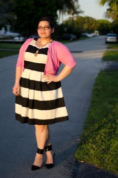 Fat Tuesday Fashion Pick: Oh, this just makes me want to buy a black and white striped dress even more than I already wanted one! http://www.kirstinmarie.com/