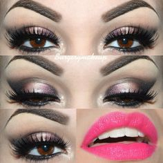 Hot pink lipstick with neutral eyeshadow