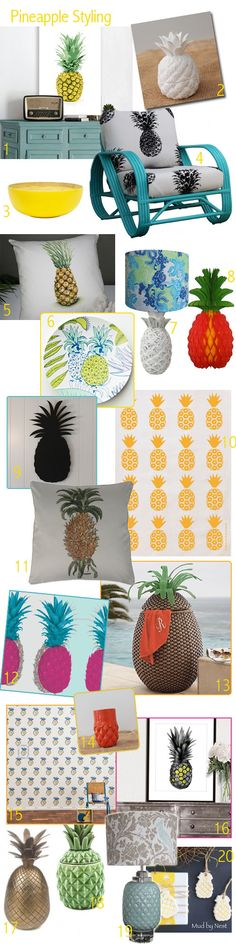 Pineapples have emerged as a styling favourite this season and are finding themselves on quite an array of homewares, upholstery and artworks. The abundance of