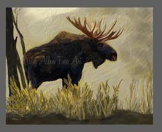 "Moose Art Moose Painting Moose Decor Moose Art Print  Cabin Decor Wildlife Art Wall Art Rustic  ""MOUNTAIN SIDE MOOSE""  Leslie Allen Fine Art by LeslieAllenFineArt on Etsy"