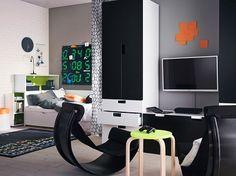 Moderne cette chambre ado garçon s'organise comme un vrai petit appartement.