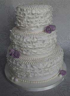 Vintage Pearls Ruffle Wedding Cake by Sugar Ruffles, via Flickr