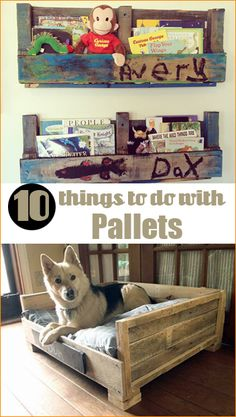 10 Things to do with Pallets.  Pallet projects to improve your home.  Cool dog bed, room decor and storage options.