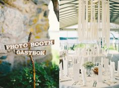 The picture on the right - ribbons hanging down from hoops - neat outdoor wedding decoration?