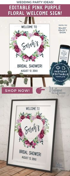 Floral Bridal Shower Celebration Welcome Sign in elegant heart floral greenery design. This Editable template is easy to personalize and edit, to make it special as you celebrate the pending arrival of her wedding day! #uniquedigitaldesigns #instantaccess #editable #corjltemplate #VirtualParty #PartyDecor #PartyPlanner #PartyIdeas #Wedding #weddingLove #Welcomesign #bride #Bridalshower #pink #purple #floral #poster Bridal Shower Welcome Sign, Wedding Welcome, Adoption Party, Welcome Poster, Sign Templates, Bridesmaid Ideas, Personalized Signs, Anniversary Parties, Party Printables