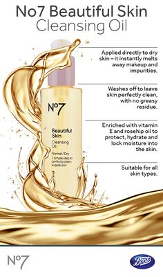 Transform dry skin into bright and healthy-looking skin with our No7 Beautiful Skin Cleansing Oil.