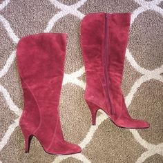 Nine West Red Boots Awesome & sexy suede boots. Genuine leather. Heels in great condition. Zippers are great. Open in back which is good for larger calves. Nine West Shoes Heeled Boots