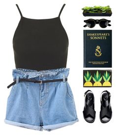 """on earth"" by intanology ❤ liked on Polyvore featuring Topshop, Kate Spade, H&M, short and retro"