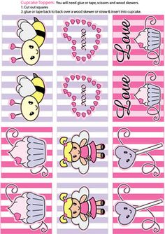 valentine Cupcake Toppers - Party