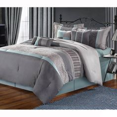 Euphoria Embroidered 8-piece Comforter Set - Free Shipping Today - Overstock.com - 14838554 - Mobile