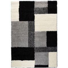 Shag Plush, Grey, and Ivory Modern Boxes Area Rug