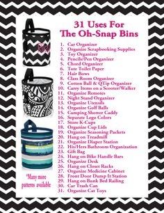 Thirty One uses for Oh-Snap Bins THIS MONTH (April 2015) spend $35 and get up to 3 of these for $5 each! What a steal!!!! www.mythirtyone.com/karijacobs