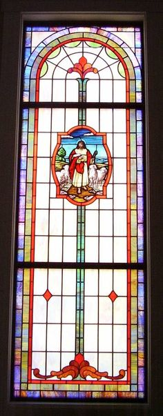 Stained glass windows at Bunker Hill Baptist Church in Columbia, MS