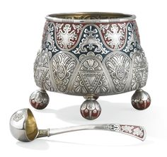 Magnificent Fabergé silver and enamel punch bowl and ladle. Signed K. Fabergé in Cyrillic beneath the Imperial Warrant, 91 standard silver- Moscow c1909 (Sotheby's)
