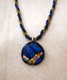 Dichroic Glass Pendant in Blue and Gold with by 3DGlassDesigns