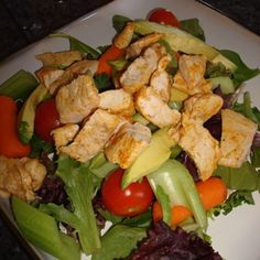 Buffalo Chicken Salad. Last time I tried this it was all heat and no flavor.  Needs some tweaking.