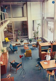 1960 , sixties, office interior, interior design style, furniture, vintage, retro,