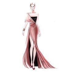 Veronika ahmatova ahvero couture style of brush by gizem kazancgil fashionillustration gizem kazancigil Dress Design Drawing, Dress Design Sketches, Fashion Design Sketchbook, Fashion Design Drawings, Dress Drawing, Fashion Sketches, Dress Designs, Drawing Sketches, Fashion Figure Drawing