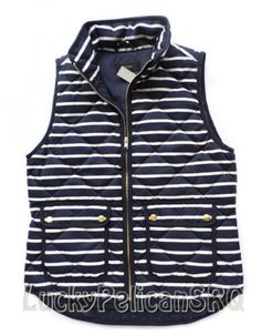 J CREW EXCURSION QUILTED VEST IN STRIPE SIZE S NWT
