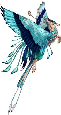 Draw Creatures I have been thinking I would like alternate animal types. just gives my world a little more bite -Z Indian Roller Feonix adopt by Tatchit - Mystical Animals, Mythical Creatures Art, Mythological Creatures, Magical Creatures, Mythical Birds, Creature Drawings, Animal Drawings, Art Drawings, Wolf Drawings