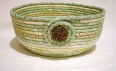 Baby Shower Green Coiled Fabric Bowl by zizzybob on Etsy, $20.00