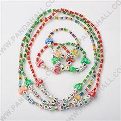 Handmade Fimo Schmetterling Schmuck-Sets für Kinder: Armbänder & Hals, Glasperlen mit bunten Acryl-Perlen und tibetischen Stil Legierung Perlen, Platin, Mischfarbe