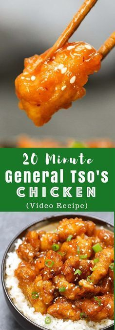 Better than take-out General Tso's Chicken for the perfect easy weeknight dish- crispy, tender and sweet! It will be on your dinner table in 20 minutes. All you need is just a few simple ingredients: chicken breast, corn starch, garlic, ginger hoisin sauce, soy sauce, rice vinegar and sugar. So delicious! Easy dinner recipe. Video recipe.   Tipbuzz.com