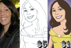 You could be drawn like a Disney character!! $5 for b&w $15 for color!