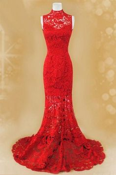 Charming Red Lace Prom Dress, Mermaid Prom Dress, High Neck Prom Dress, Lace Prom Dress, Lace Formal Dress, Lace Evening Dress, Real Image Prom Dresses