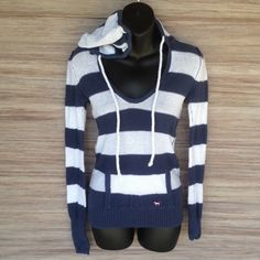 VS PINK Hoodie Navy and white. Pocket on front. Excellent condition PINK Victoria's Secret Tops Sweatshirts & Hoodies