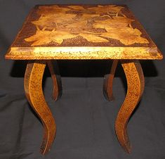 Nicely Burned Antique Pyrography Flemish Art Table from tomjudy on . Small Occasional Table, Long Melford, Leaf Design, Vintage Home Decor, Vanity Bench, Burns, Arts And Crafts, Pyrography Ideas, Antiques