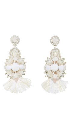 Raffia Fan Flower Earrings by RANJANA KHAN for Preorder on Moda Operandi