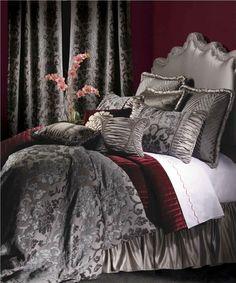 Found it at Wayfair - Jennifer Taylor La Rose Bedding Collection Rose Comforter, Bedroom Comforter Sets, Cal King Bedding, Bedroom Bed, Duvet Sets, Bedroom Ideas, Bedroom Designs, Comforters Bed, Gray Bedding