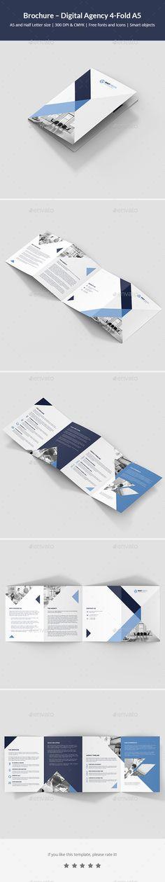 #Brochure – Digital Agency 4-Fold A5 - #Corporate #Brochures