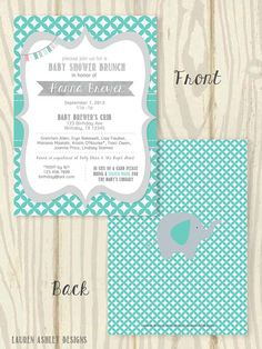 Turquise and Grey Elephant Gender Neutral Baby Shower Invitation - 5x7