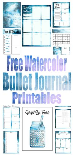15 Free Watercolor Bullet Journal Printables - The Clever Side How To Bullet Journal, Bullet Journal Layout, Bullet Journal Inspiration, Journal Ideas, Journal Art, Journal Prompts, Bullet Journal Free Printables, Daily Planner Printable, Tracker Free