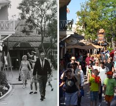 Disneyland, Then and Now. L: Walt and guest stroll through Adventureland. R: The spot is now home to the River Belle Terrace and the Bengal Barbecue.