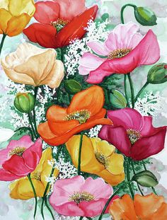 Mixed Poppies Painting by Karin Best - Mixed Poppies Fine Art Prints and Posters for Sale Art Floral, Watercolor Flowers, Watercolor Paintings, Acrylic Paintings, Icelandic Poppies, Silk Painting, Poppies Painting, Poppies Art, Poppy Flower Painting