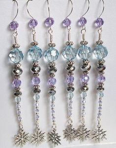6 Silver and Blurple Blue Purple Beaded by DragonflysCastle, $13.00