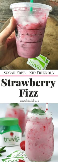 #ad This Starbucks copycat recipe is a sugar free drink that you need to make at home. This Strawberry Fizz Recipe blends fresh strawberries, coconut milk, truvia, and sparkling water for a fizzy, light, and delicious drink recipe the whole family will love. Saves calories from sugar, but doesn't give up flavor. There is a full serving of fruit in this tasty beverage, the perfect way to get more fruit into picky kids. Save money by making this yummy Starbucks pink drink copycat...