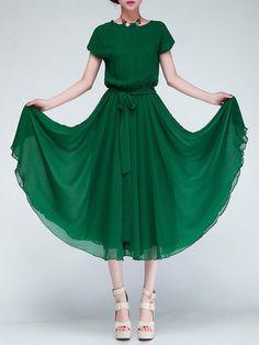 Elegant Chiffon Short Sleeve Casual Dress with Belt