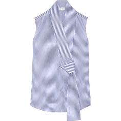 Victoria Beckham Striped cotton-poplin top (30,425 THB) ❤ liked on Polyvore featuring tops, blouses, shirts, sleeveless shirts, tie blouse, loose shirts, oversized striped shirt and striped blouse